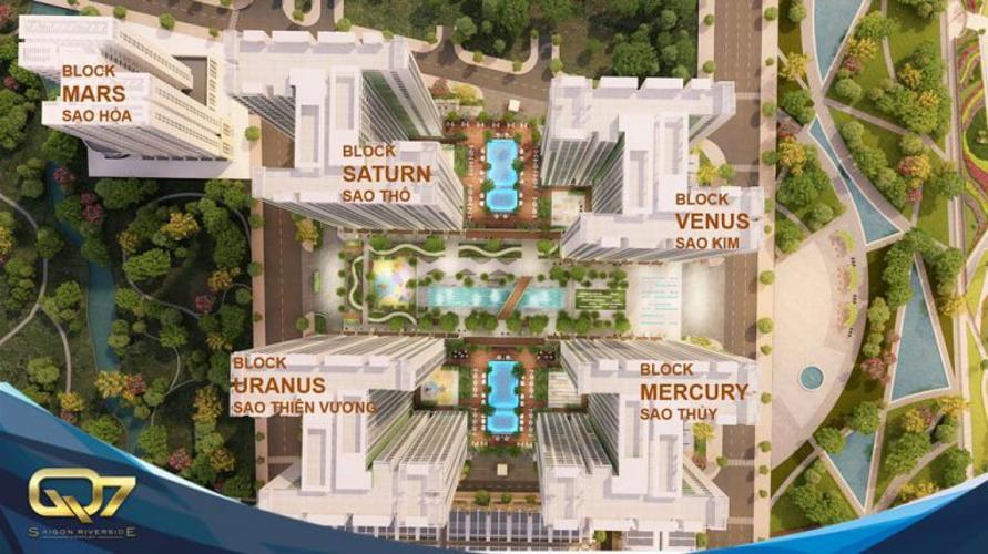 mặt bằng dự án Q7 Saigon Riverside Căn hộ Q7 Saigon Riverside tầng cao, view nội khu.