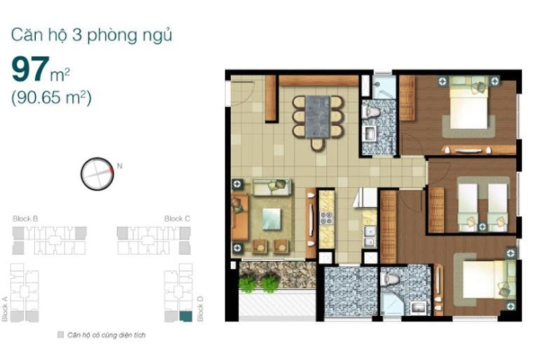 Mặt bằng căn hộ 3 phòng ngủ Căn hộ Lexington Residence 3 phòng ngủ tầng trung LD hướng Đông Bắc