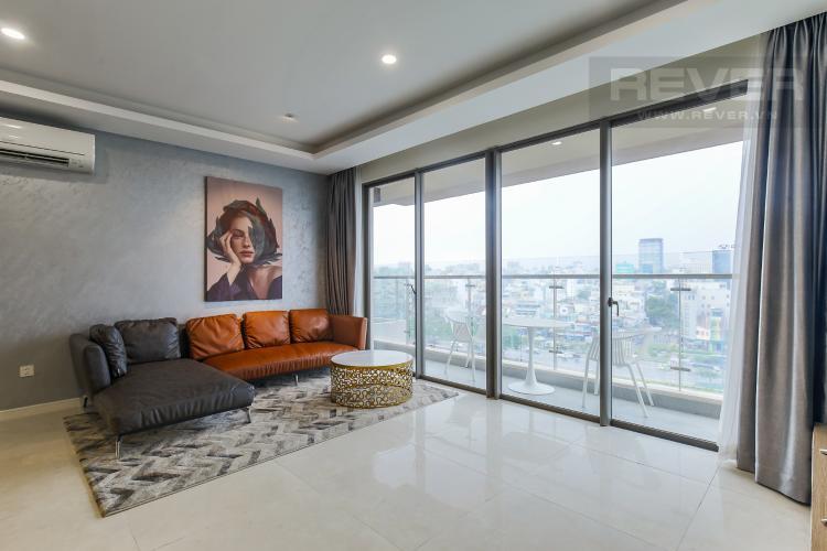 Phòng Khách Cho thuê căn hộ Masteri Millennium 3PN, diện tích 107m2, đầy đủ nội thất, view Bitexco