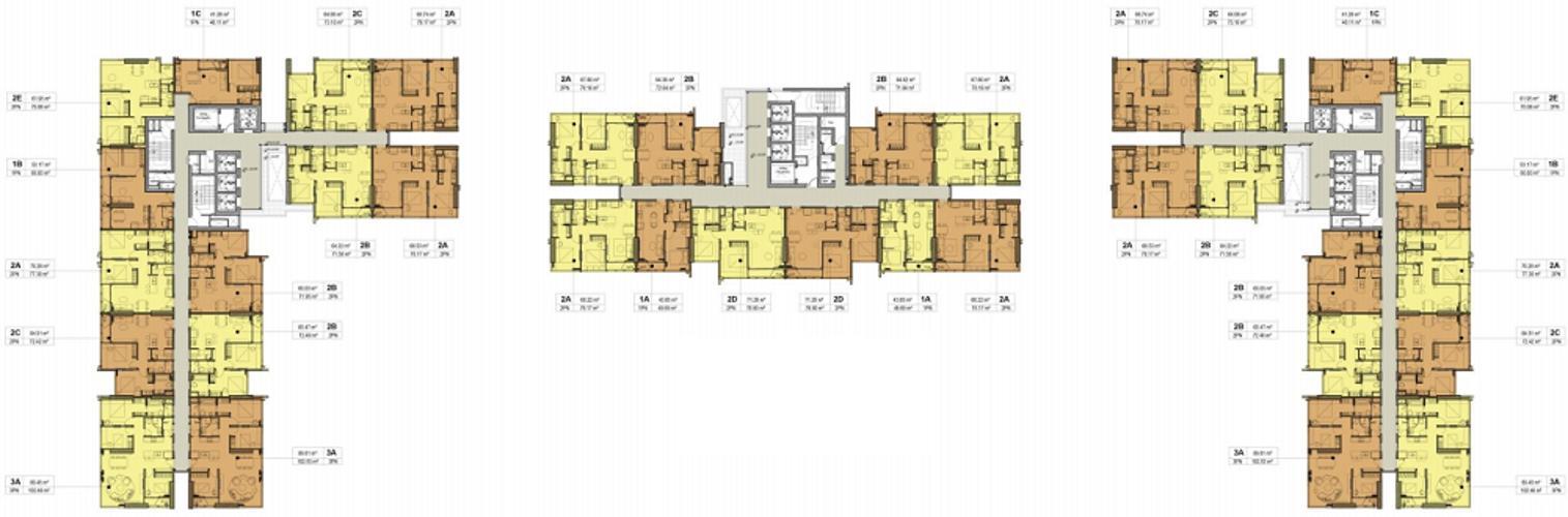 Layout Kingdome 101, Quận 10 Căn hộ Kingdom 101 nội thất cơ bản, 3 phòng ngủ.