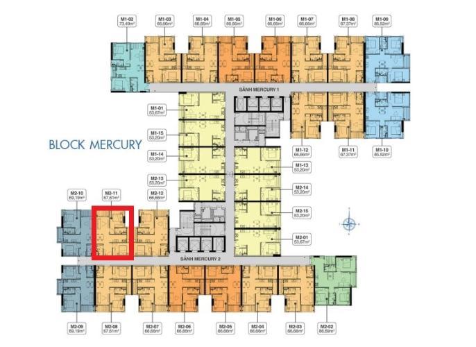 Layout tầng Q7 Saigon Riverside Bán căn hộ Q7 Saigon Riverside tầng cao, tháp Mercury, nội thất cơ bản