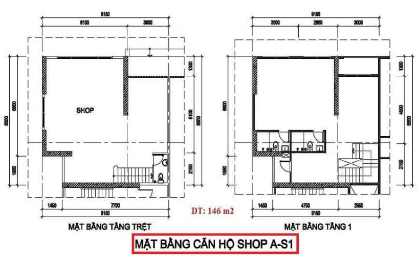 Layout shop-house Diamond Riverside Căn shop-house Diamond Riverside 1 triệt 1 lầu, bàn giao thô.