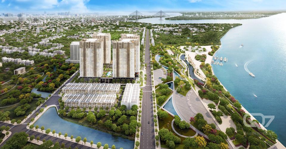 Phối cảnh Q7 Riverside  Bán căn hộ Q7 Saigon Riverside thuộc tầng cao tháp Mercury, diện tích 86m2, 3PN, ban công hướng Đông Nam