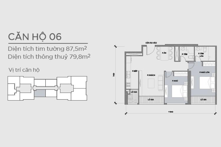 Mặt bằng căn hộ 2 phòng ngủ Căn hộ Vinhomes Central Park 2 phòng ngủ tầng trung P2 hướng Đông Bắc