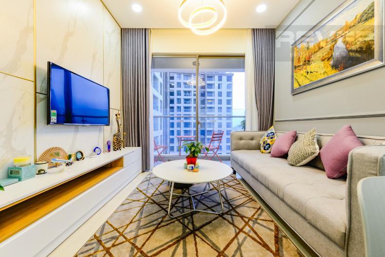 Phòng khách Cho thuê căn hộ Masteri Millennium tầng cao, view sông 2PN đầy đủ nội thất