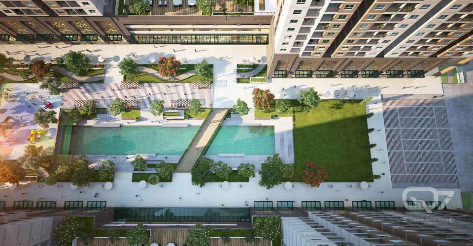 Nội khu căn hộ Q7 Saigon Riverside Bán căn hộ Q7 Saigon Riverside tầng trung, diện tích 53.2m2 - 1 phòng ngủ, chưa bàn giao