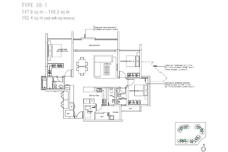 Căn hộ 3 phòng ngủ Căn hộ The Estella Quận 2 tầng trung 3 phòng ngủ đầy đủ tiện nghi