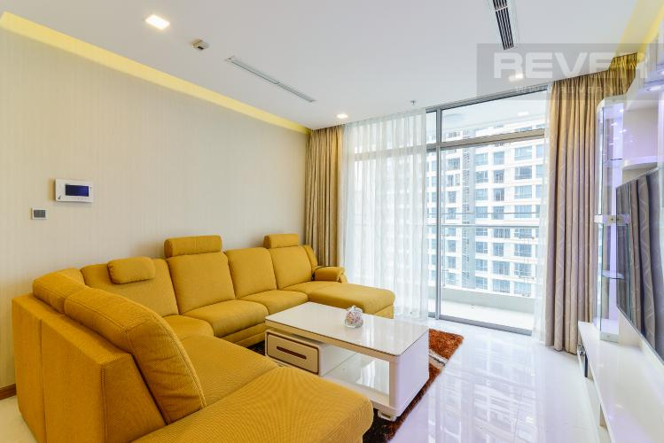 Phòng khách Căn hộ Vinhomes Central Park tầng cao P5, view sông với 3 phòng ngủ
