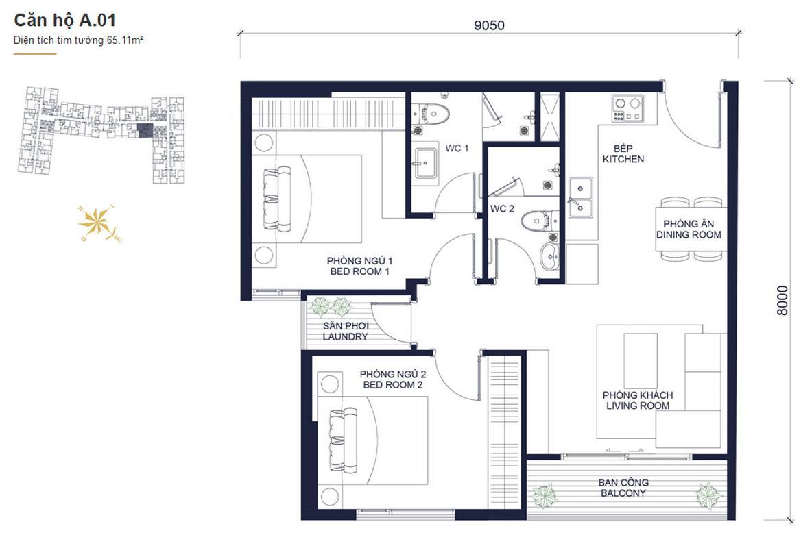 A01 Bán căn hộ Masteri Millennium 2PN, block A, diện tích 60m2, đầy đủ nội thất, view Bitexco
