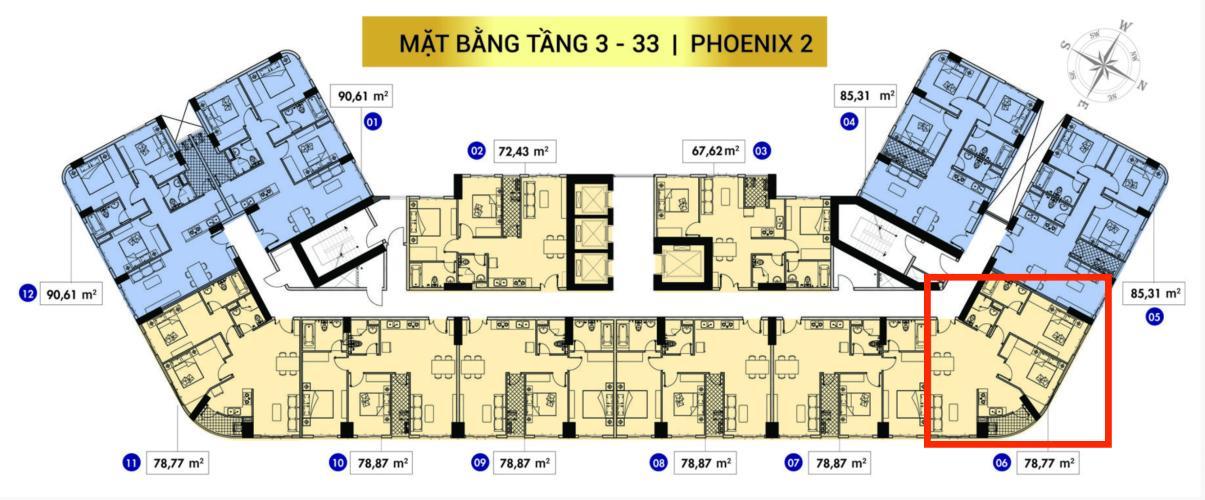 Mặt bằng tầng căn hộ Topaz Elite Căn hộ Topaz Elite tháp Phoenix 2, view thành phố, 2 phòng ngủ.