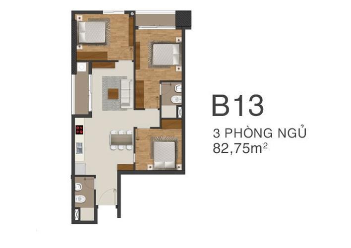 Căn hộ Moonlight Park View tầng trung, 3 phòng ngủ, view nội khu.