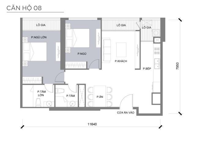 Mặt bằng căn hộ 2 phòng ngủ Căn hộ Vinhomes Central Park 2 phòng ngủ tầng cao P3 hướng Bắc