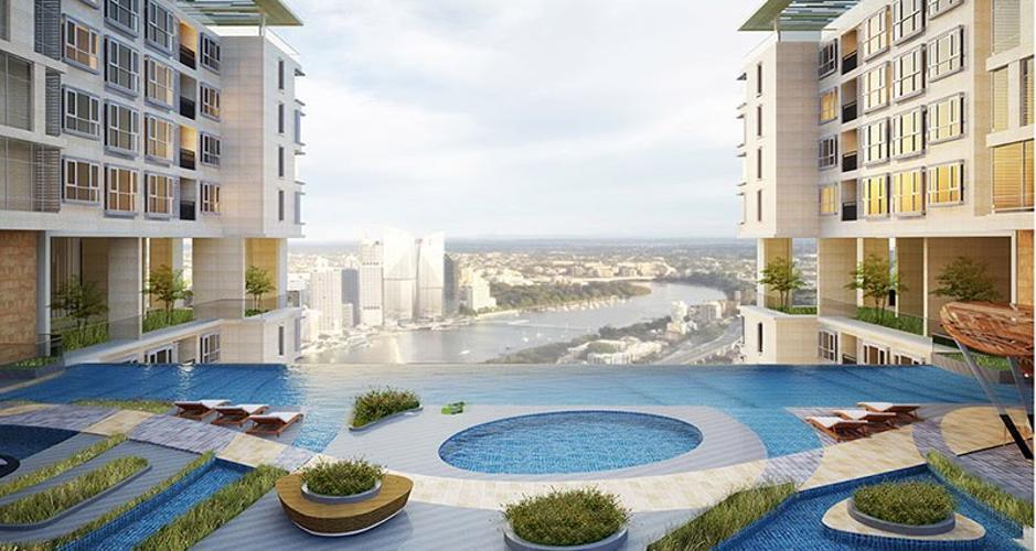 tien ích hồ bơi Lavida Plus Office-tel Lavida Plus bàn giao thô, view nhìn ra thành phố.
