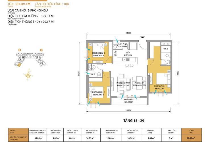 Mặt bằng căn hộ 3 phòng ngủ Căn hộ Masteri Thảo Điền 3 phòng ngủ tầng cao T5 đầy đủ nội thất