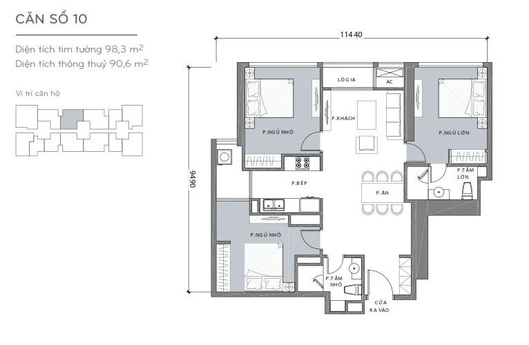 Mặt bằng căn hộ 3 phòng ngủ Căn hộ Vinhomes Central Park 3 phòng ngủ tầng cao L2 view sông