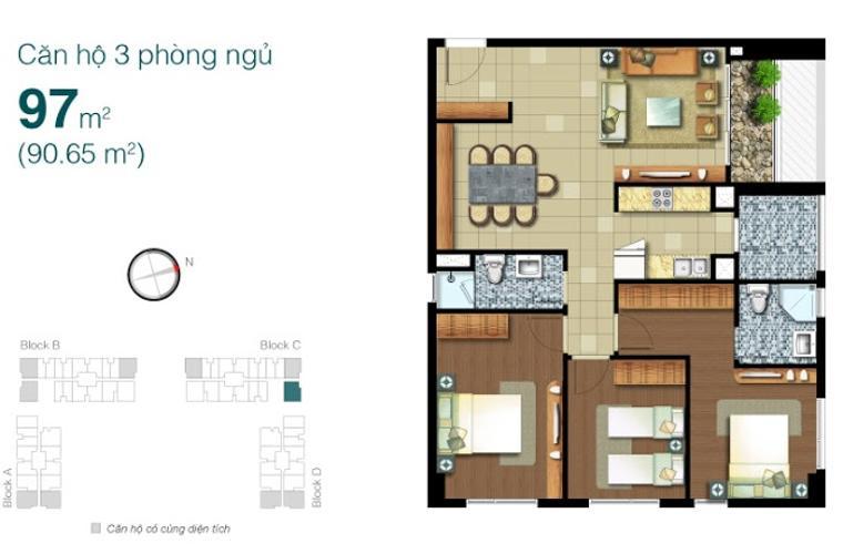 Mặt bằng căn hộ 3 phòng ngủ Căn hộ Lexington Residence tầng cao LC, 3 phòng ngủ, view đẹp