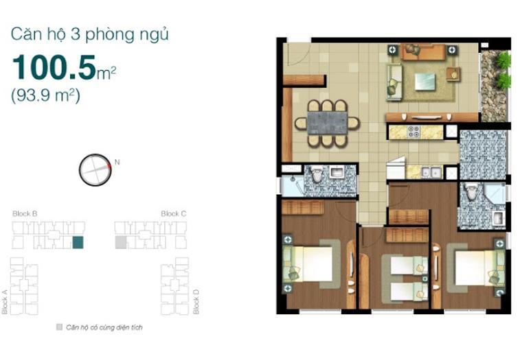 Mặt bằng căn hộ 3 phòng ngủ Căn hộ Lexington Residence 2 phòng ngủ tầng trung LB đầy đủ tiện nghi