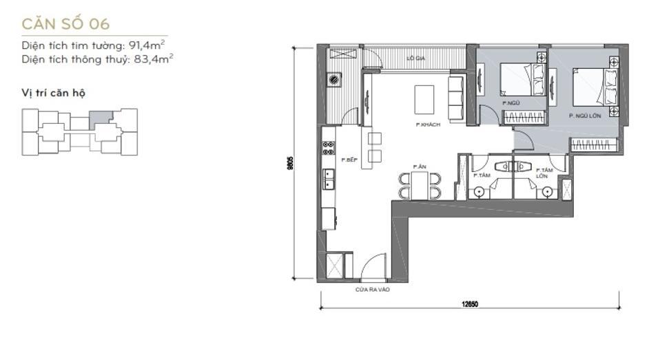 Mặt bằng căn hộ 2 phòng ngủ Căn hộ Vinhomes Central Park 2 phòng ngủ tầng cao L6 hướng Đông Bắc