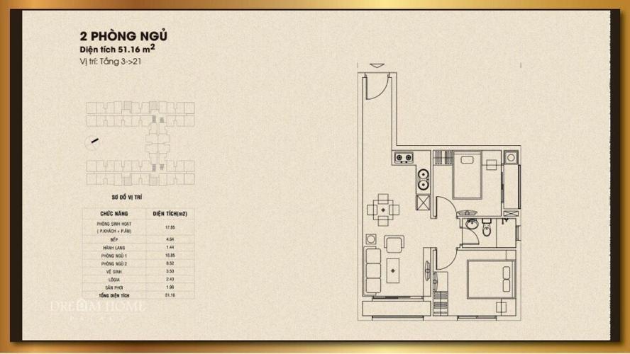 Căn hộ Dream Home Palace view Đông Nam, nội thất cơ bản.