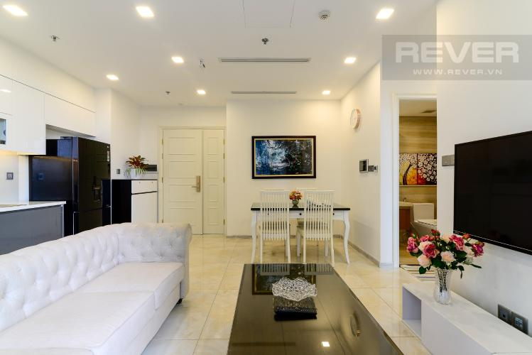 Phòng Khách Cho thuê căn hộ Vinhomes Golden River 2PN, tầng thấp, tháp The Aqua 3, đầy đủ nội thất, view sông thoáng mát