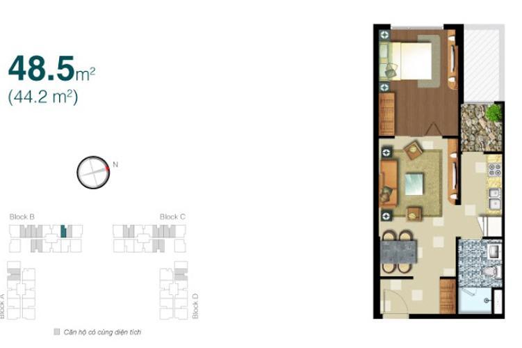 Mặt bằng căn hộ 1 phòng ngủ Cho thuê căn hộ 1PN Lexington Residence, tầng trung, thiết kế trẻ trung, đầy đủ nội thất