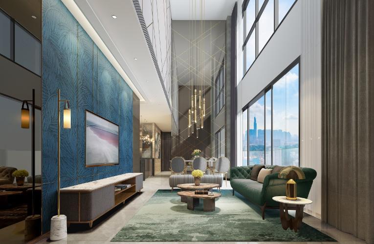 Phòng khách The MARQ Căn hộ The MARQ tầng thấp, nội thất cơ bản.