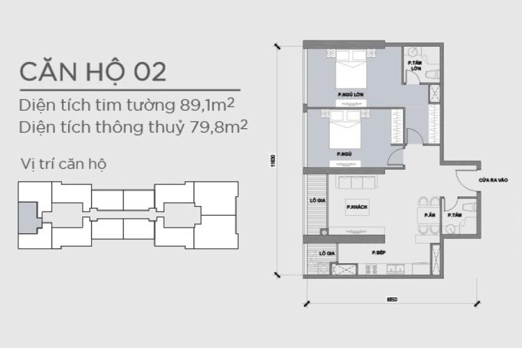 Căn hộ 2 phòng ngủ Căn hộ Vinhomes Central Park 2 phòng ngủ Park 2 nội thất cơ bản