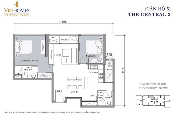 Căn hộ 2 phòng ngủ mã căn 05 Căn hộ Vinhomes Central Park tầng cao hướng Đông Bắc tháp Central 3