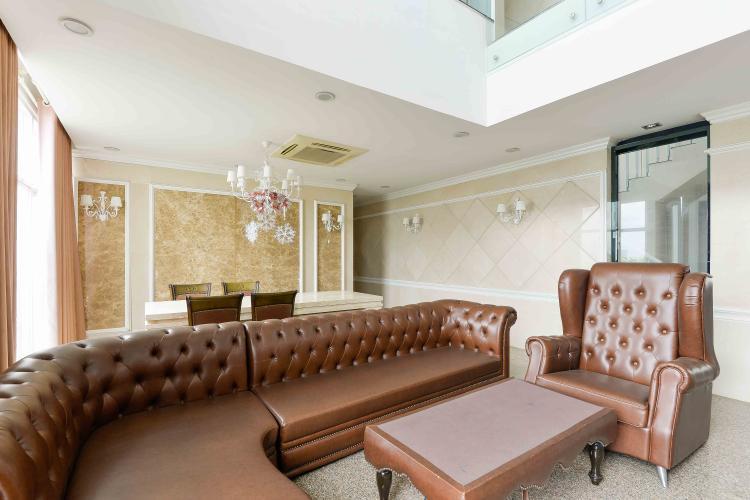 Phòng Khách Bán penthouse chung cư Phú Mỹ 4PN, diện tích 353m2, đầy đủ nội thất, view sông và thành phố