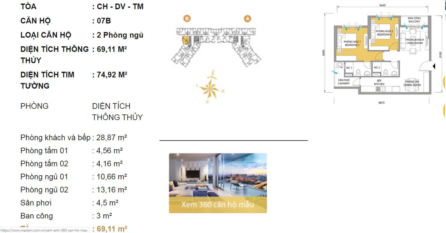 Layout Bán hoặc cho thuê căn hộ Masteri Thảo Điền 2PN, tháp T5, đầy đủ nội thất, view Xa lộ Hà Nội và Landmark 81