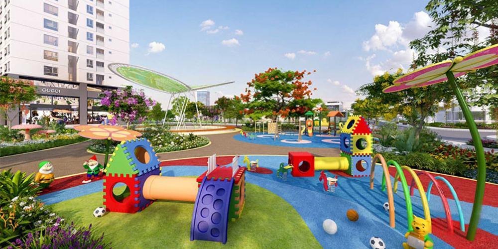 Công viên dự án Q7 Boulevard Bán căn hộ Q7 Boulevard tầng trung, 1 phòng ngủ, diện tích 50,5m2, thiết kế hiện đại, chưa bàn giao.