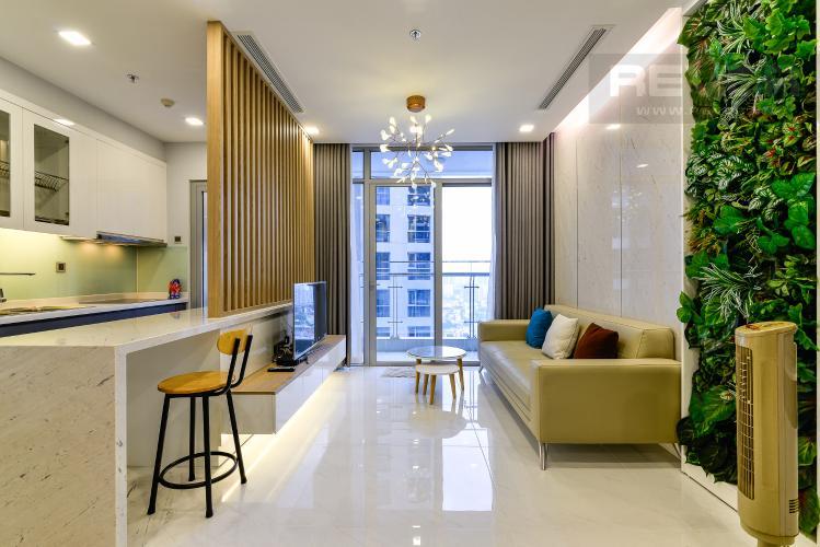 Phòng Khách Căn hộ Vinhomes Central Park tầng cao, 2PN, đầy đủ nội thất, view hồ bơi