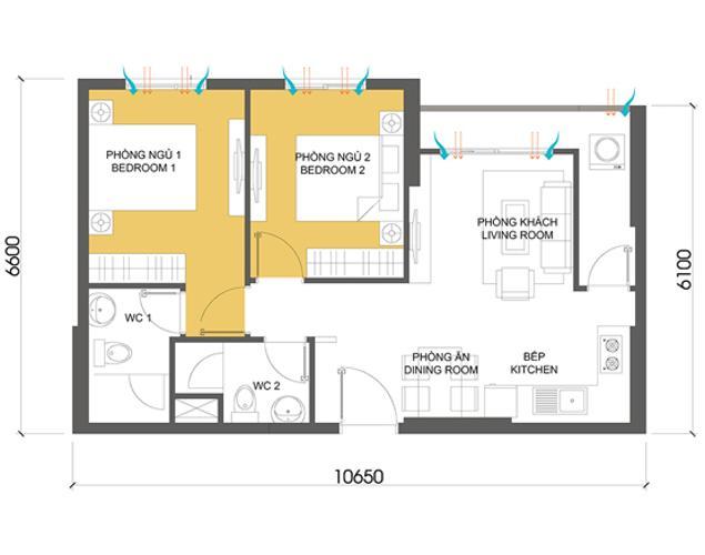 Căn hộ 2 phòng ngủ Căn góc Masteri Thảo Điền 2 phòng ngủ tầng cao T1 nội thất đầy đủ