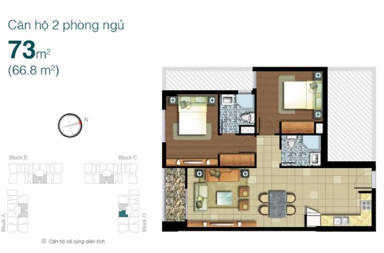 Mặt bằng căn hộ 2 phòng ngủ Căn hộ Lexington Residence 2 phòng ngủ tầng trung LD view nội khu