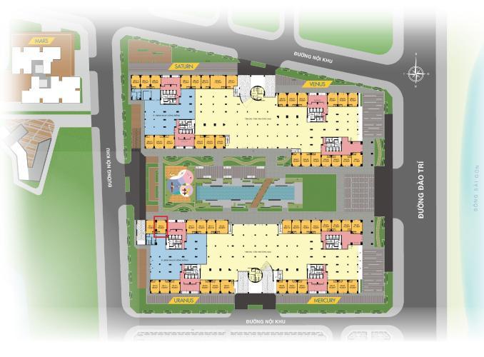 layout tổng quan  shop-house Q7 Saigon Riverside Shop-house Q7 Saigon Riverside tầng 1 hướng Bắc, view hồ bơi.