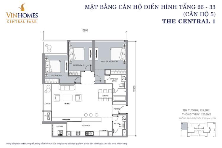Mặt bằng căn hộ 3 phòng ngủ Căn hộ Vinhomes Central Park 3 phòng ngủ tầng trung C1 view sông