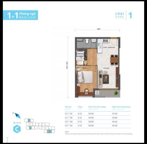 Sơ đồ căn hộ Safira Khang Điền Bán căn hộ Safira Khang Điền 1 phòng ngủ, tầng 17, diện tích 50m2, nội thất cơ bản