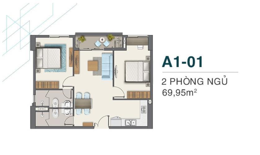 A1.01 Bán căn hộ Q7 Boulevard diện tích 63.57m2, kết cấu gồm 2 phòng ngủ và 2 toilet. Ban công hướng Bắc