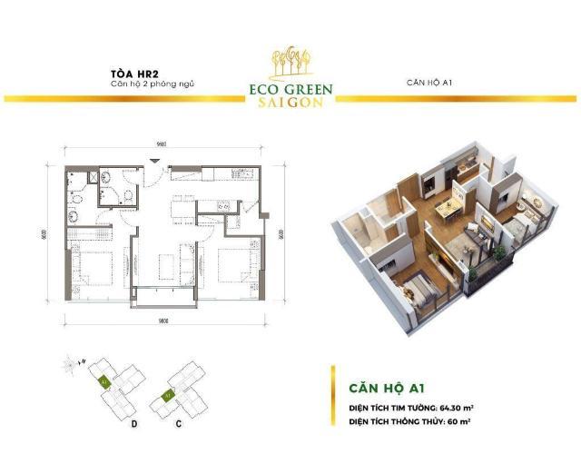 Căn hộ Eco Green Sài Gòn tầng cao hoàn thiện cơ bản, view nội khu
