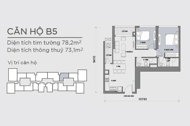 Mặt bằng căn hộ 2 phòng ngủ Căn hộ Vinhomes Central Park 2 phòng ngủ, tầng trung P6, view hồ bơi
