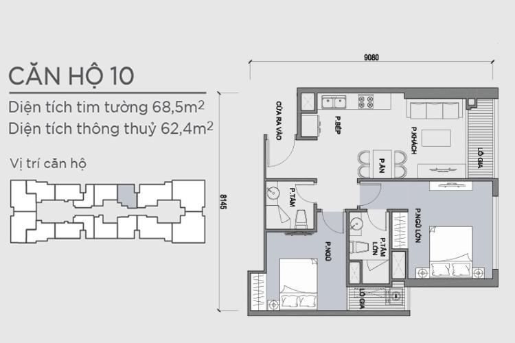 Mặt bằng căn hộ 2 phòng ngủ Căn hộ Vinhomes Central Park 2 phòng ngủ tầng cao P1 nhà trống