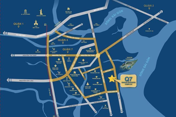 Vị trí căn hộ Q7 Saigon Riverside Bán căn hộ Q7 Saigon Riverside cửa hướng Bắc, view thành phố.