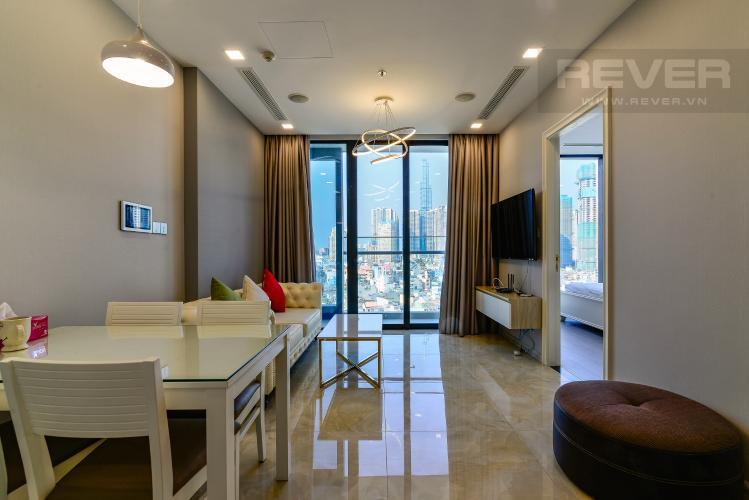 Phòng Khách Cho thuê căn hộ Vinhomes Golden River tầng trung, 2PN 2WC, đầy đủ nội thất, view Landmark 81