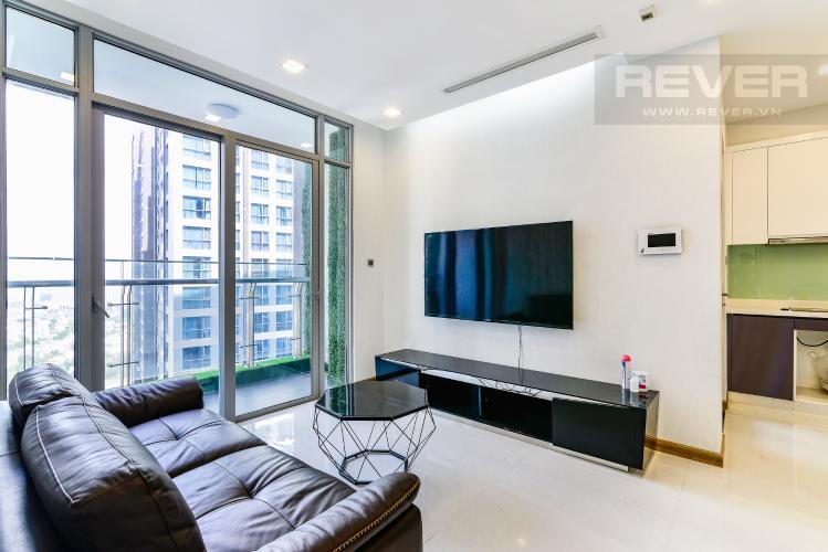Phòng Khách Căn hộ Vinhomes Central Park tầng trung, tháp P7, 3 phòng ngủ, view sông