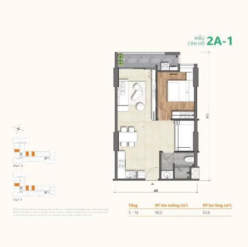 Căn hộ Ricca tầng thấp 1 phòng ngủ, nội thất cơ bản.