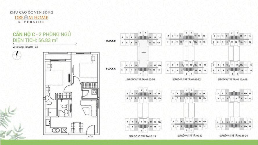 Căn hộ Dream Home Riverside có 2 phòng ngủ, nội thất cơ bản.