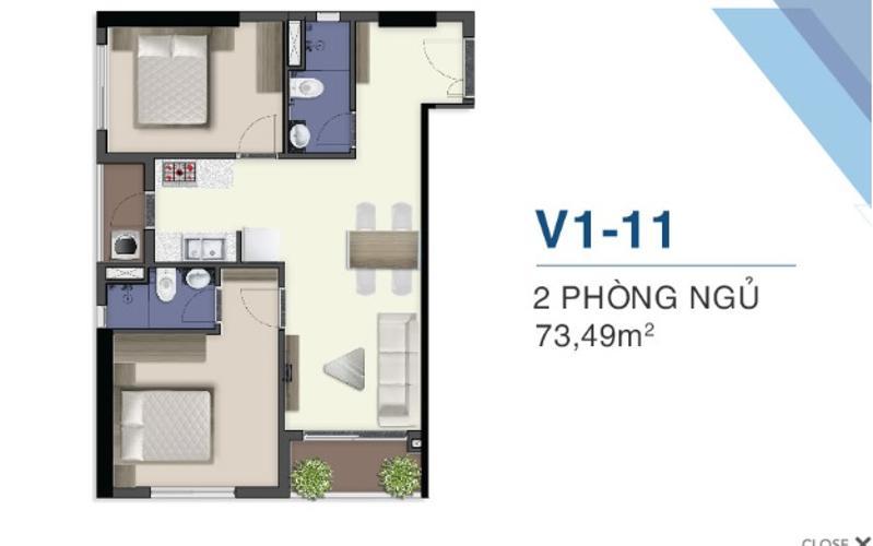 layout căn hộ Q7 Saigon Riverside Bán căn hộ tầng cao Q7 Saigon Riverside, ban công hướng Tây.