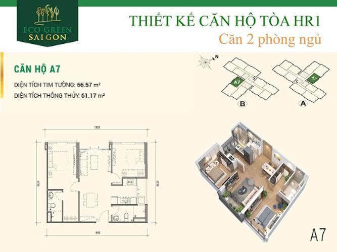 layout căn hộ Eco Green Saigon Căn hộ Eco Green Saigon nội thất cơ bản, view nội khu thoáng mát.