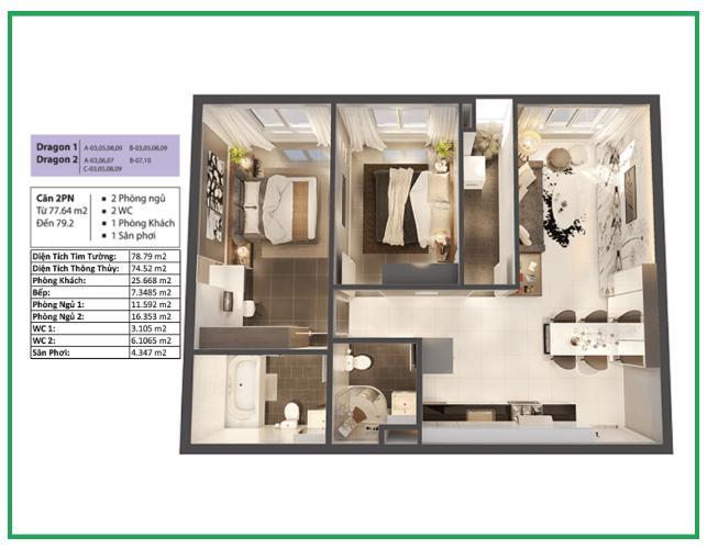 Phối cảnh căn hộ Topaz Elite Căn hộ tầng cao Topaz Elite nội thất cơ bản, view thành phố.