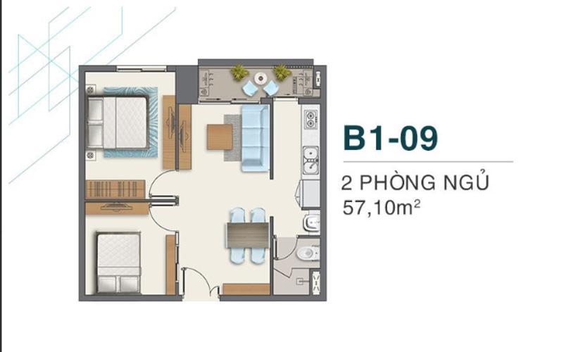 Mặt bằng căn hộ Q7 Boulevard Bán căn hộ Q7 Boulevard diện tích57,1m2 - 2 phòng ngủ và 1 toilet thuộc tầng trung, ban công hướng Bắc.